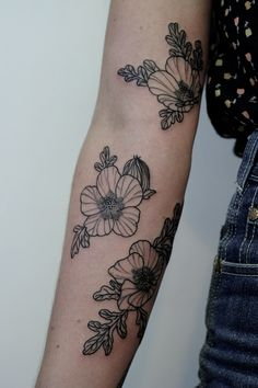wildflower black line  arm Tattoo