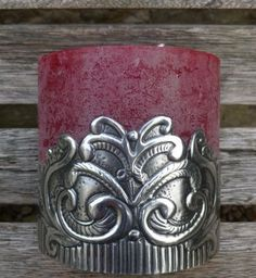Chunky candle pewter cuff in vintage design.  Hand crafted by Caroline @ Pewter Concepts