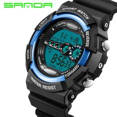 fb012dbf6 Find More Digital Watches Information about SANDA Famous Brands LED Digital  Sports Watches Mens 30M Shock