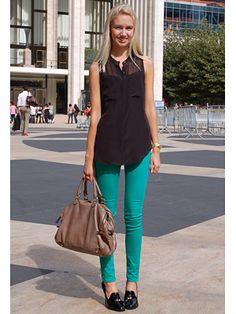 I love bright colored jeans!