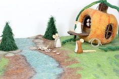 Pumpkin House Play Set - IN STOCK - Wool Felt Play Set with Pumpkin House, Double Sided Play Mat, Little Felt Mice, Mohair Trees and More