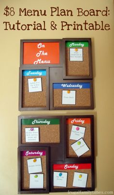 Frugal Family Times: $8 Menu Plan Board: Tutorial and Printable