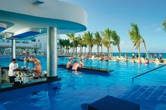 The swimming pool with swim-up bar at Riu Reggae in Montego Bay Jamaica.