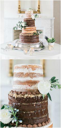Naked cake, tall wedding cake, chocolate layers, white flowers, natural wedding reception // Sarah Brooke Photography