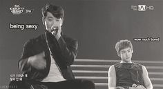 gif - channie doing his job being all sexy and khun lookin like he's in his own world