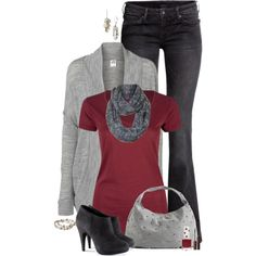 """Fall Grey & Cranberry"" by kswirsding on Polyvore"