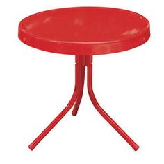 Backyard Creations Woodstock Stamped Steel Side Table Red