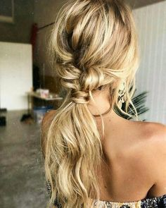 Hair hair styles hair color hair cuts hair color ideas for brunettes hair color ideas Wedding Hairstyles For Long Hair, Pretty Hairstyles, Bohemian Hairstyles, Hairstyle Ideas, Braided Hairstyles, Low Pony Hairstyles, Latest Hairstyles, Ponytail Hairstyles For Prom, Blonde Hairstyles