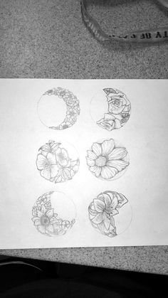 floral phases of the moon tattoo idea (original drawing)