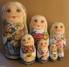 Unique Big Russian Wooden Nesting Dolls Russian Matryoshka 7 Pieces | eBay