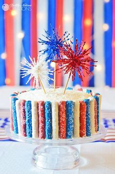 Amazing 4th of July Sparkler Cake with Fireworks and Red White and Blue Sparkle Pretzels!  So fun!!