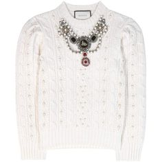 Gucci Embellished Wool and Cashmere Sweater (76.105 ARS) ❤ liked on Polyvore featuring tops, sweaters, white, white embellished top, woolen sweater, white cashmere sweater, gucci sweater and embellished tops