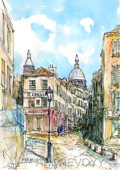 Impresión de una acuarela original de arte de PARIS MONTMARTRE