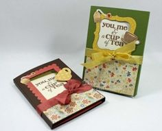 Teabag Holder Cards by Debbie Seyer. Debbie created these fun Teabag Holder Cards to include teabags as gifts. She includes a step-by-step instruction for the card dimensions on her blog. This would be a great gift for a friend you haven't seen in a while or for someone feeling a little under the weather.