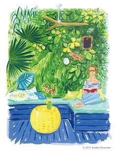 ayako onozuka #illustration #Fashion  #イラストレーション #女性 #Woman #小野塚綾子 #Acrylic paint  #interior #インテリア #garden #green