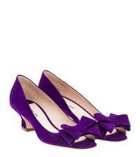 Adorable Purple Kitten Heels Bow Shoes High Flat