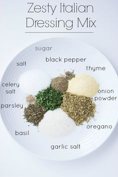 Homemade Zesty Italian Dressing Mix - with ton of flavour and similar to one at the store.double for dressing bottle- sub 1 TBSP fresh garlic for garlic salt- Homemade Spices, Homemade Seasonings, Homemade Ranch Seasoning, Italian Seasoning, Spice Blends, Spice Mixes, Do It Yourself Food, Salad Dressing Recipes, Salad Dressings