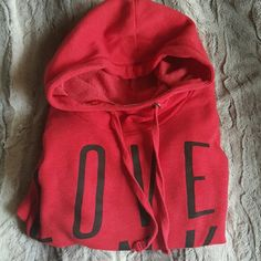 SALE Red victorias secret funnel neck hoodie Super cute and cozy red victoria's secret PINK funnel neck hoodie with black lettering on it. This was one of my favorites but I have so many! Good condition, I wore this a lot so it's not brand new but theirs no flaws just been worn a lot and has a little pilling from the wash as seen in picture. PINK Victoria's Secret Other