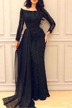 Modest prom dress, sequins prom dress, elegant black sequins chiffon long prom gown with sleeves