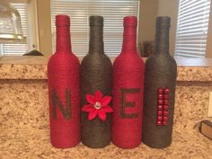 Christams twine wrapped wine bottles. Noel. Holiday decor. Gift. by KrystalsCraftCorner on Etsy https://www.etsy.com/listing/248111641/christams-twine-wrapped-wine-bottles