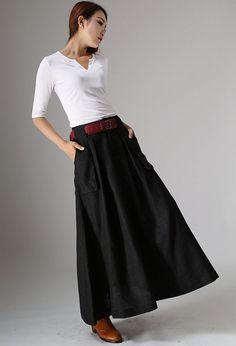 Jupe noire jupes jupe en lin une jupe trapèze jupes par xiaolizi