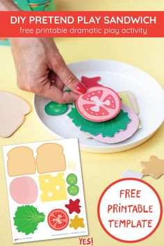 Encourage dramatic play in your kids. Make this awesome DIY play sandwich using our DIY play food sandwich printable. Simple and fun paper DIY activity! Preschool Food, Preschool Learning Activities, Toddler Activities, Preschool Activities, Toddler Crafts, Crafts For Kids, Food Art For Kids, Dramatic Play Centers, How To Make Sandwich