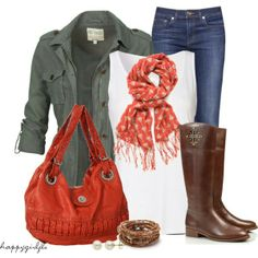 riding boots, coral pops of color and jacket