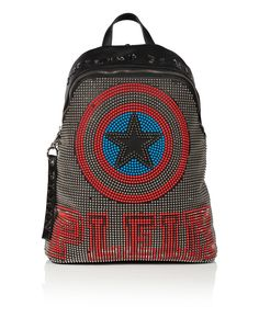 """PHILIPP PLEIN LEATHER BACKPACK """"OCEAN AVENUE"""". #philippplein #bags #leather #lining #polyester #backpacks #"""