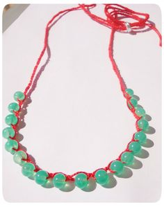 Green glass on red crochet necklace  A versatile addition to any jewellery collection. Easy and comfortable to wear around your neck or wrist! :)