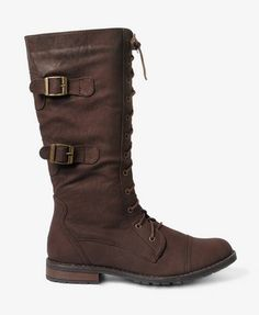 Buckled Combat Boots in brown