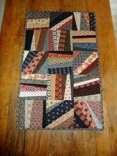 Scrappy String Quilt Runner by TreasuredPrimitives on Etsy. inspiration for a tie quilt Patchwork Quilting, Scrappy Quilts, Mini Quilts, Hand Quilting, Machine Quilting, Crazy Quilting, Lap Quilts, Colchas Quilt, Quilt Blocks