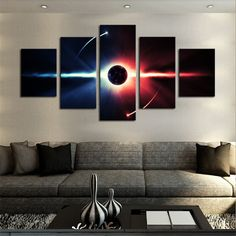 5 Piece Large HD Abstract Planet Canvas Print Painting for Living Room, Wall Art Picture Printing On Canvas