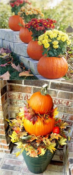 25 splendid DIY fall decorations for your front door and porch: from pumpkin house numbers, corn garlands, colorful planters to harvest displays and more! - A Piece Of Rainbow #outdoordiydecorations
