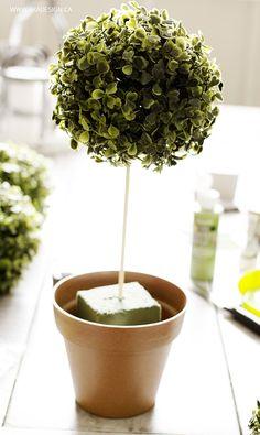 add greenery ball to skewer