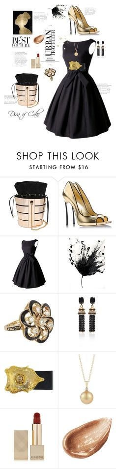 """Gold & Black"" by kercey ❤ liked on Polyvore featuring Salvatore Ferragamo, Casadei, Vintage, Oscar de la Renta, Burberry, Jouer and Oliver Gal Artist Co."