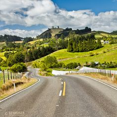 Farms along typical rural New Zealand road near city of Tauranga on the North Island
