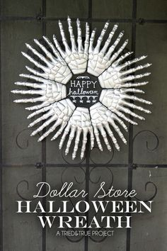 Dollar Store Halloween Wreath. So cool!!