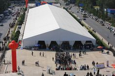 Shelter Exhibition tent is A frame large clear span from 10m -50m. Length is unlimited by adding 5m bay distance.