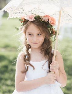 Flower Girl Crown Flower Girl Rustic Wedding Hair Wreath Child FABRIC FLOWER CROWN Toddler Headband Faux Succulents Silk Flowers