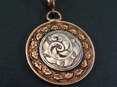 Hand Engraved Silver and Bronze Large Canadian by JelliesJewelry, $105.00