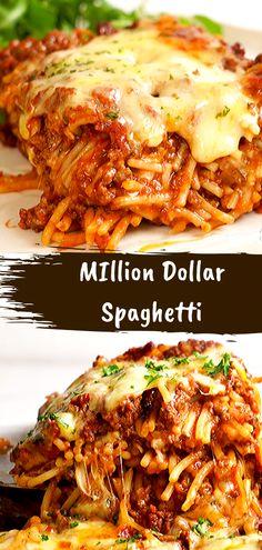 MIllion Dollar Spaghetti Recipe - Food Recipes Casserole Recipes, Meat Recipes, Dinner Recipes, Cooking Recipes, Recipes With Mince, Dinner Ideas, Potato Recipes, Spaghetti Dinner, Italian Foods