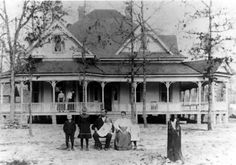 Samuel R. Patten family and home about 1905. Left to right in foreground: George Patten, Effie Patten (Eason), Samuel R. Patten, Dolly Patte...