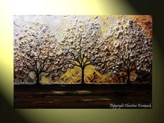 "Art Abstract Blossoming Cherry Tree Painting Trees Wall Decor White Gold Brown Grey Autumn Modern Contemporary Palette Knife Textured Fine Art Home Decor 24x36"" by Christine Krainock"