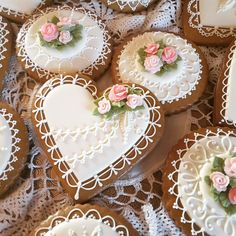Purity, hearts in white with lace and pink roses; cookie artist Teri Pringle Wood