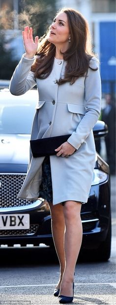 The Duchess of Cambridge steps out in baby blue: via DailyMail