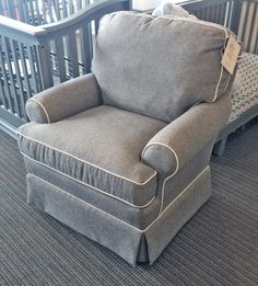 Best Chairs - Quinn Swivel Glider in Mist with White piping Stock#247234