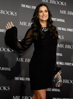 Demi Moore: I Want Some Testosterone: Photo May-December couple Demi Moore and Ashton Kutcher take daughter Lulah (formerly Tallulah) to the Los Angeles premiere of thriller Mr. Brooks at the Grauman's… Wall Stree, Ashton Kutcher, Demi Moore, Looking Stunning, Body Types, Daughter, Neckline, Elegant, How To Wear