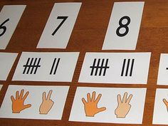 Free Printable Math Numeracy Cards. Includes numeral, tally marks and hands visual.