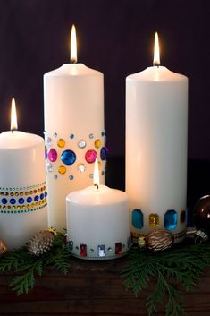 Adorn Candles with Jeweled Patterns