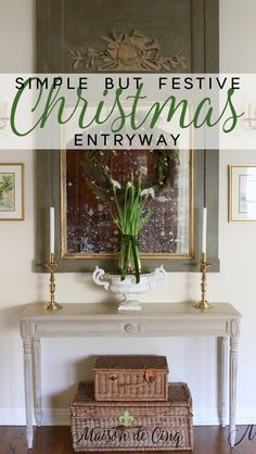 A Simple French Inspired Christmas Entryway